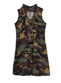 Girls 7-16 Camo Tank Dress with Necklace - 3615066590032