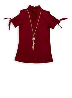 Girls 7-16 Cold Shoulder Top with Detachable Necklace - 3615066590045