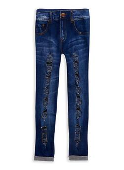 Girls 7-16 Denim Look Ripped Leggings - 3619023130002