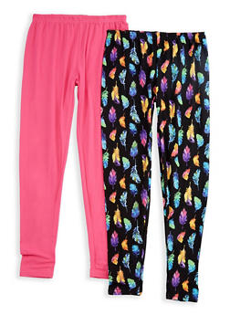 Girls 7-16 Set of 2 Solid and Printed Leggings - 3619054730008