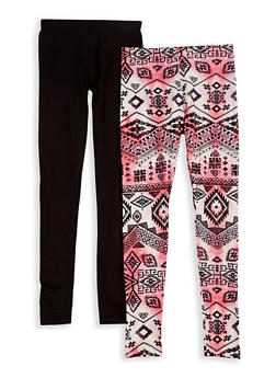 Girls 7-16 Set of Printed and Solid Leggings - 3619060580015