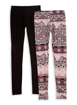 Girls 7-16 Soft Knit Printed and Solid Leggings Set - 3619060580017