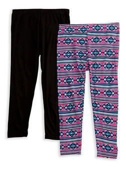 Girls 4-6x Set of 2 Solid and Printed Leggings - 3620054730004