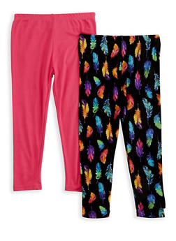 Girls 4-6x Set of 2 Solid and Printed Leggings - 3620054730006