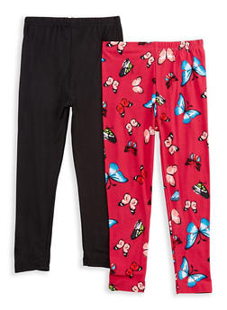 Girls 4-6x Set of 2 Solid and Printed Leggings - 3620054730007