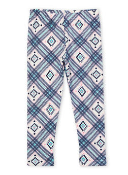 Girls 4-6x Brushed Knit Leggings in Mixed Print - 3620061950016