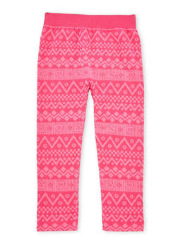 Girls 4-6x Fleece Legging with Chevron Heart Print - 3620061950021