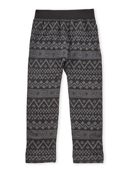 Girls 4-6x Fleece Leggings with Chevron Print - 3620061950022