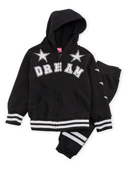 Girls 4-6x Hoodie and Joggers with Sparkle Star Graphics - 3622048370003