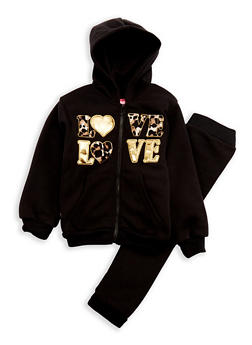 Girls 4-6x Love Graphic Sweatshirt with Joggers - 3622048370011