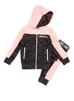 Girls 4-6x Limited Too Color Block Zip Hoodie with Joggers - 3622060990002