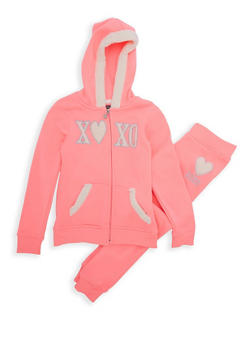 Girls 7-16 Xoxo Graphic Hooded Zip Up Sweater with Joggers - 3623061950006