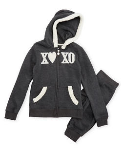 Girls 7-16 Xoxo Graphic Hoodie and Joggers Set - 3623061950007