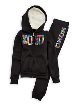 Girls 7-16 XOXO Sequin Hoodie with Joggers - 3623061950008