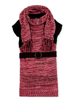 Girls 5-6x Belted Sweater Dress and Infinity Scarf Set - 3624038340013