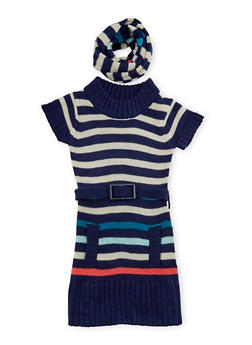 Girls 5-6x Sweater Dress with Scarf - 3624038340014