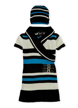 Girls 5-6x Belted Sweater Dress with Beanie Hat - BLK/IVORY - 3624038340015