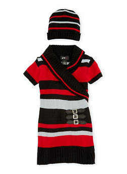 Girls 5-6x Belted Sweater Dress with Beanie Hat - BLK/RED - 3624038340015