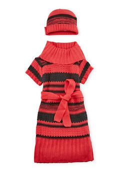 Girls 3T-6X Belted Sweater Dress with Hat Set - 3624038340018
