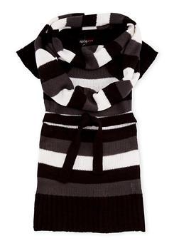 Girls 4-6x Belted Sweater Dress and Infinity Scarf Set - BLK/CARC - 3624038340019