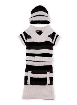 Girls 4-6x Belted Sweater Dress and Beanie Hat Set - 3624038340022