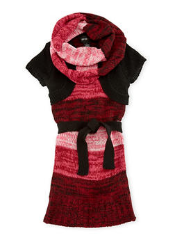 Girls 5-6x Belted Sweater Dress and Infinity Scarf Set - 3624038340024