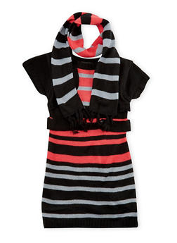 Girls 4-6x Striped Sweater Dress and Scarf - PINK/SILVER - 3624038340026