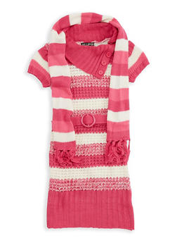 Girls 4-16 Striped Knit Sweater Dress with Scarf - 3624038340027
