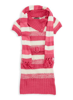 Girls 4-6x Striped Knit Sweater Dress with Scarf - 3624038340028
