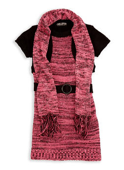 Girls 4-6x Shrug Sweater Dress with Scarf - 3624038340031