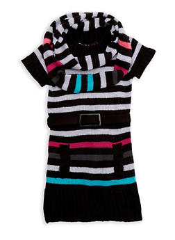 Girls 4-6x Multi Striped Sweater Dress with Infinity Scarf - 3624038340033