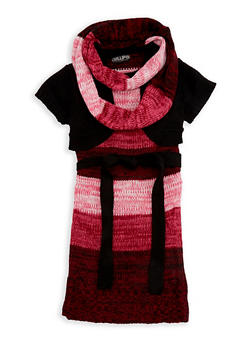 Girls 4-6x Shrug Sweater Dress with Infinity Scarf - BLACK/PINK - 3624038340036