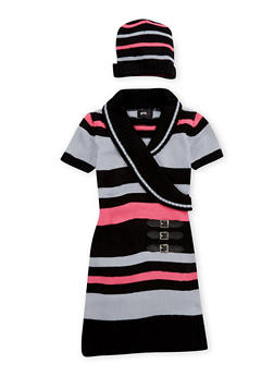 Girls 4-6x Striped Buckle Detail Sweater Dress - 3624038340038