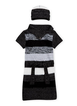 Girls 4-6x Button Neck Sweater Dress with Hat - 3624038340041