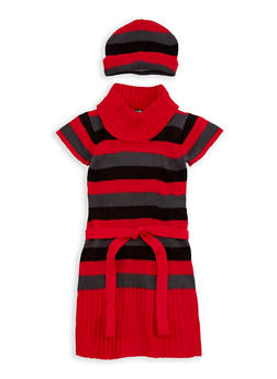 Girls 4-6x Striped Sweater Dress with Hat - 3624038340043