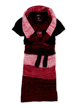 Girls 7-16 Striped Sweater Dress with Scarf - 3625038340002