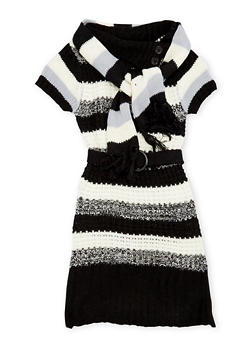Girls 5-16 Striped Sweater Dress and Scarf - 3625038340011