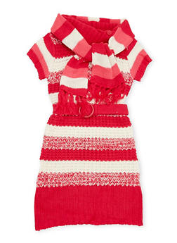Girls 5-16 Striped Sweater Dress and Scarf - CRANBERRY/IVORY - 3625038340011