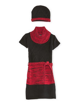 Girls 7-16 Belted Sweater Dress and Hat Set - 3625038340032