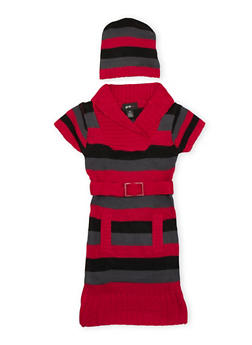 Girls 7-16 Striped Sweater Dress and Beanie Hat - 3625038340034