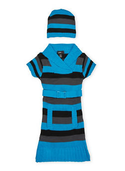Girls 7-16 Striped Sweater Dress and Beanie Hat Set - 3625038340036