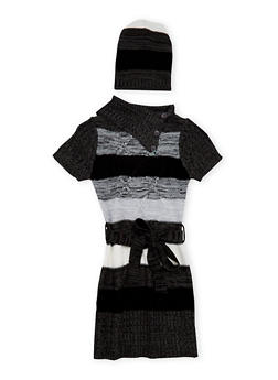 Girls 7-16 Striped Sweater Dress and Beanie Hat - 3625038340039