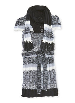 Girls 4-16 Sweater Dress with Fringe Scarf - 3625038340040