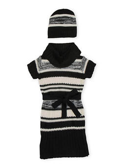 Girls 7-16 Striped Sweater Dress and Beanie Hat - 3625038340042
