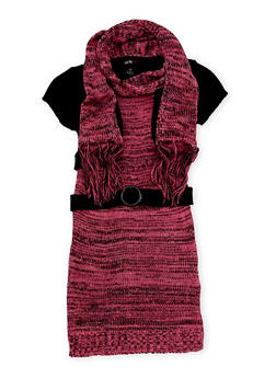 Girls 10-16 Sweater Dress with Attached Shrug and Scarf - 3625038340043