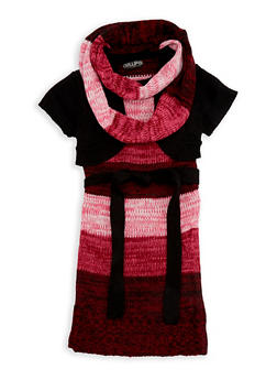 Girls 7-16 Shrug Sweater Dress with Infinity Scarf - 3625038340046