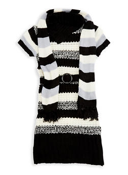 Girls 7-16 Striped Knit Sweater Dress with Scarf - 3625038340047