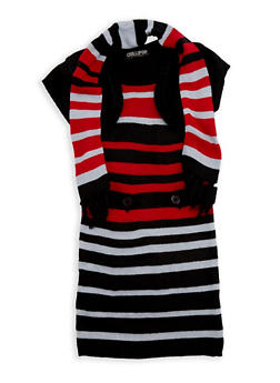 Girls 7-16 Button Shrug Sweater Dress with Scarf - 3625038340048