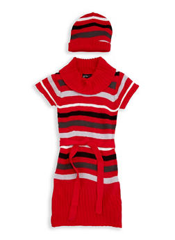 Girls 7-16 Multi Stripe Sweater Dress with Hat - 3625038340053