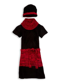 Girls 7-16 Belted Sweater Dress with Beanie Hat - 3625038340062